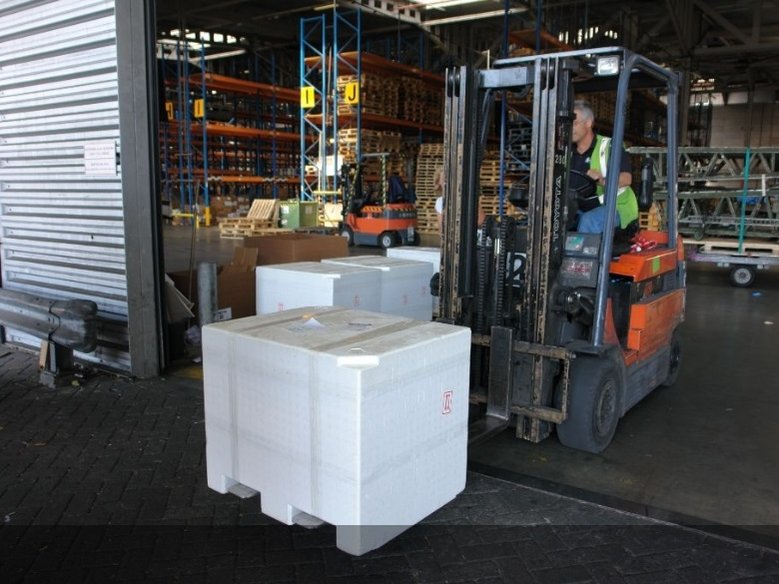 The boxes on their way to a KLM airplane